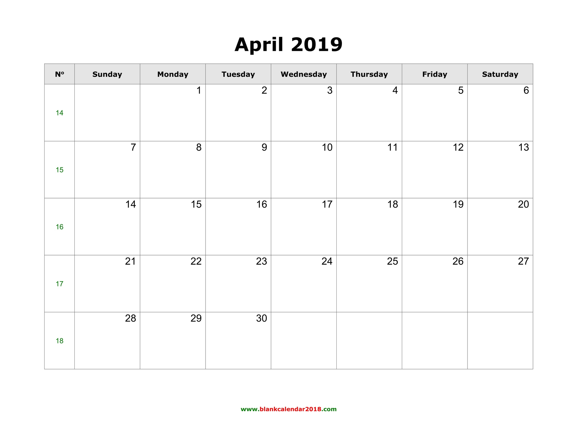 photo relating to Printable Calendar April called Blank Calendar for April 2019