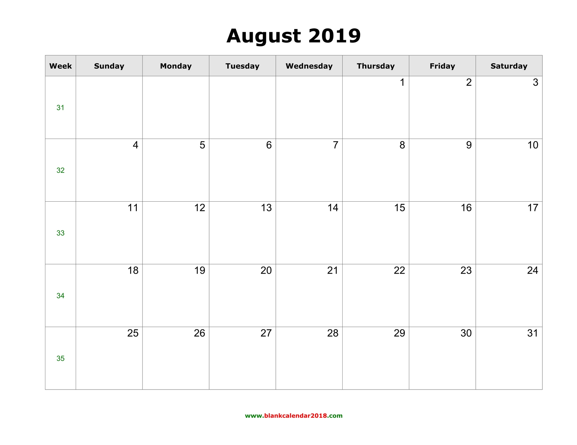 picture relating to Free Printable Calendar August named Blank Calendar for August 2019