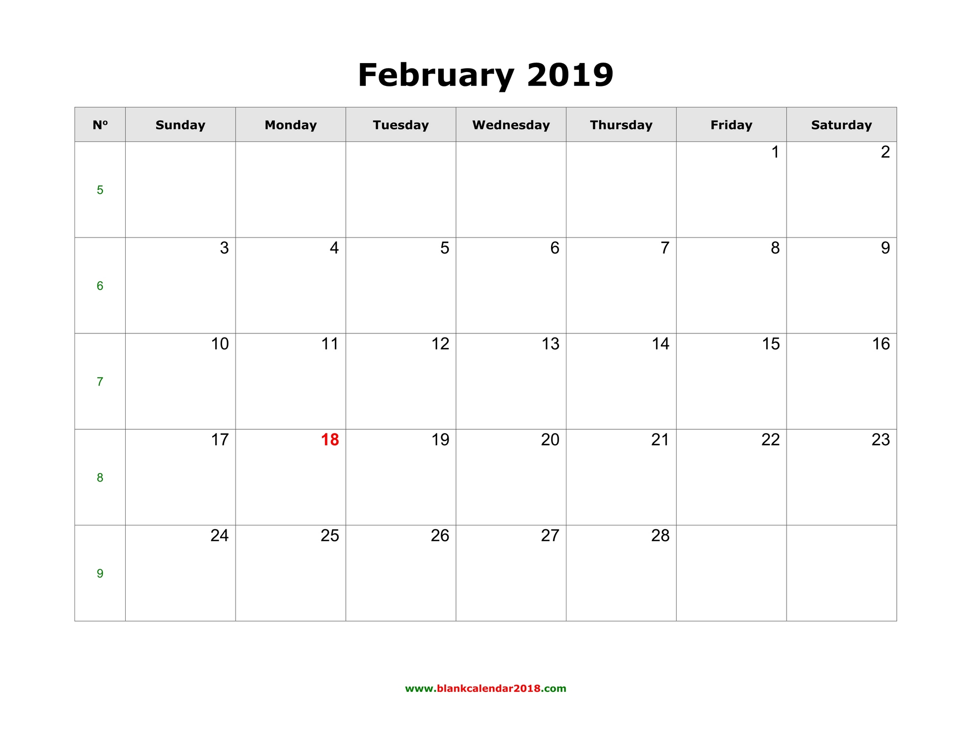 Month Of February Calendar 2019 Blank Calendar for February 2019