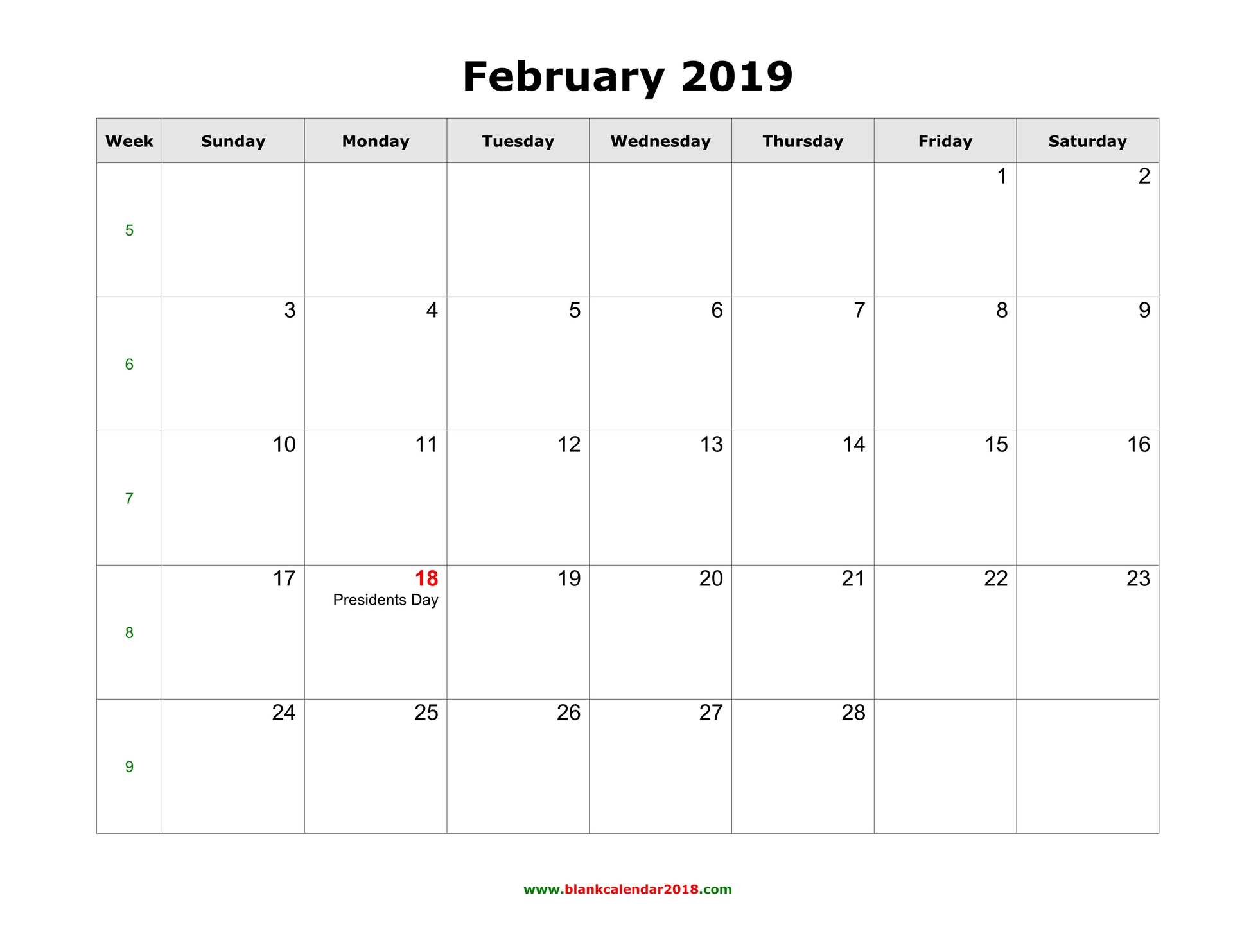 Monthly Calendar Grid February 2019 Blank Calendar for February 2019