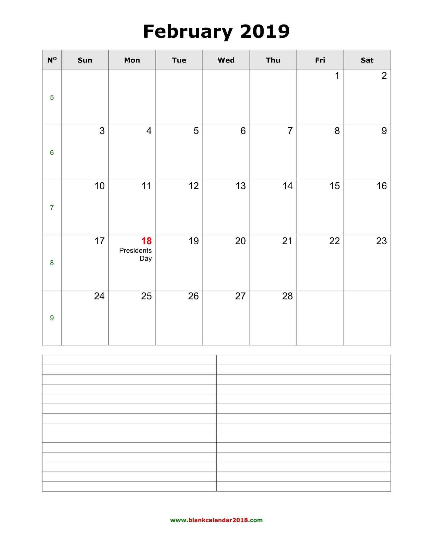 Lined February 2019 Calendar Blank Calendar for February 2019