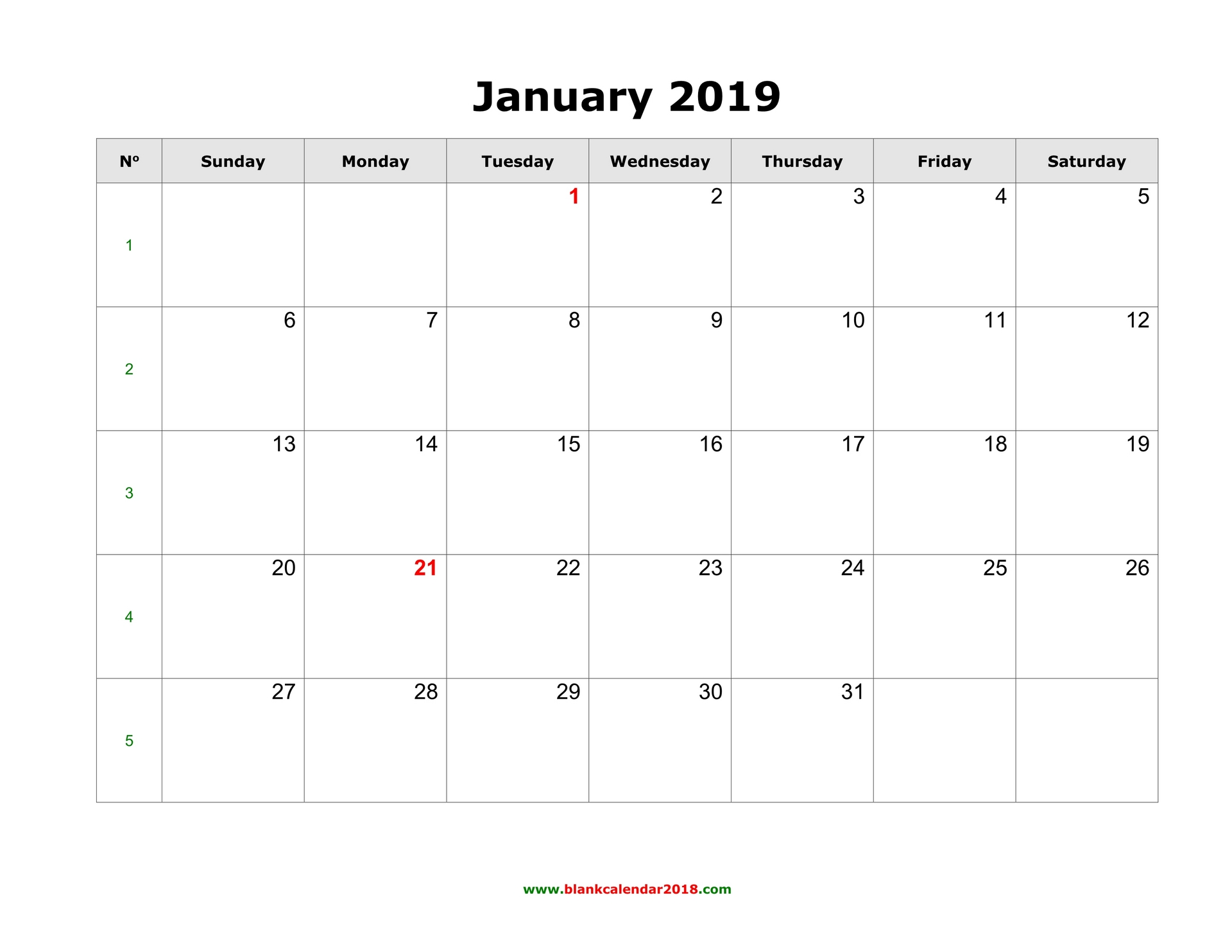 2019 January Calendar Free Printable Blank Calendar for January 2019