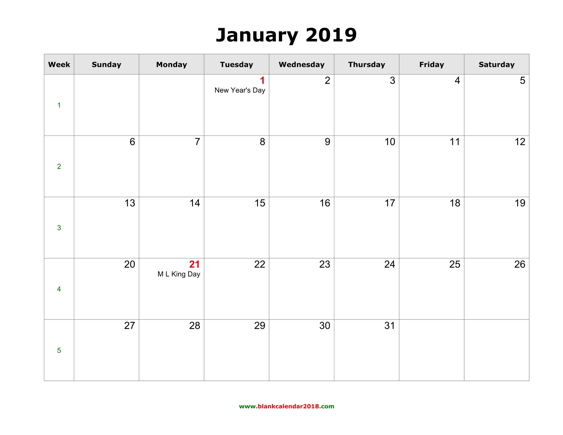 2019 Calendar Printable Word Blank Calendar for January 2019