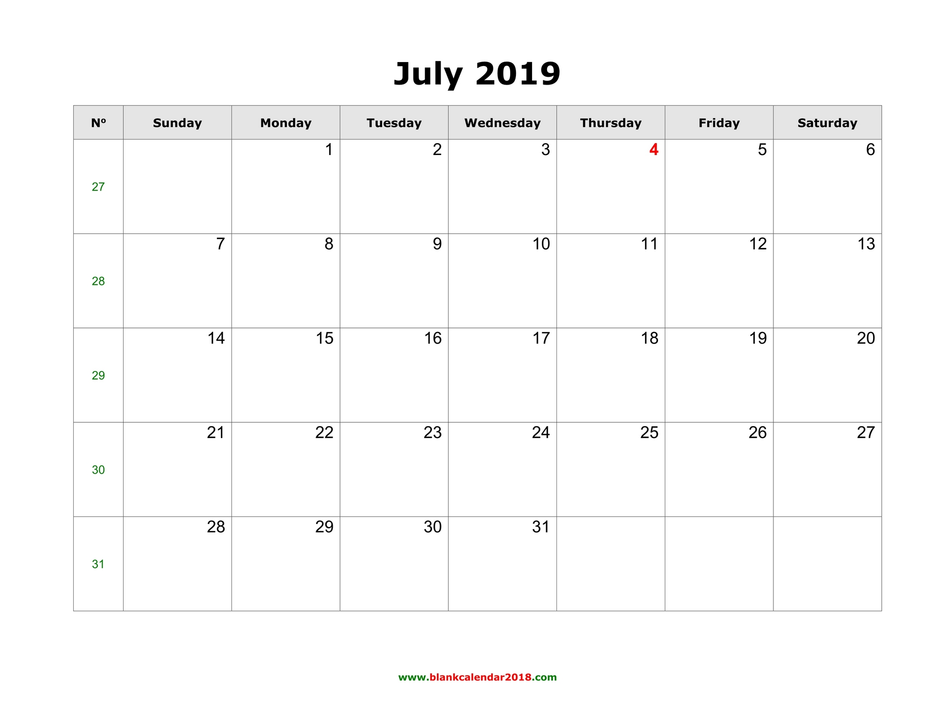 photograph relating to Calendar for July Printable referred to as Blank Calendar for July 2019