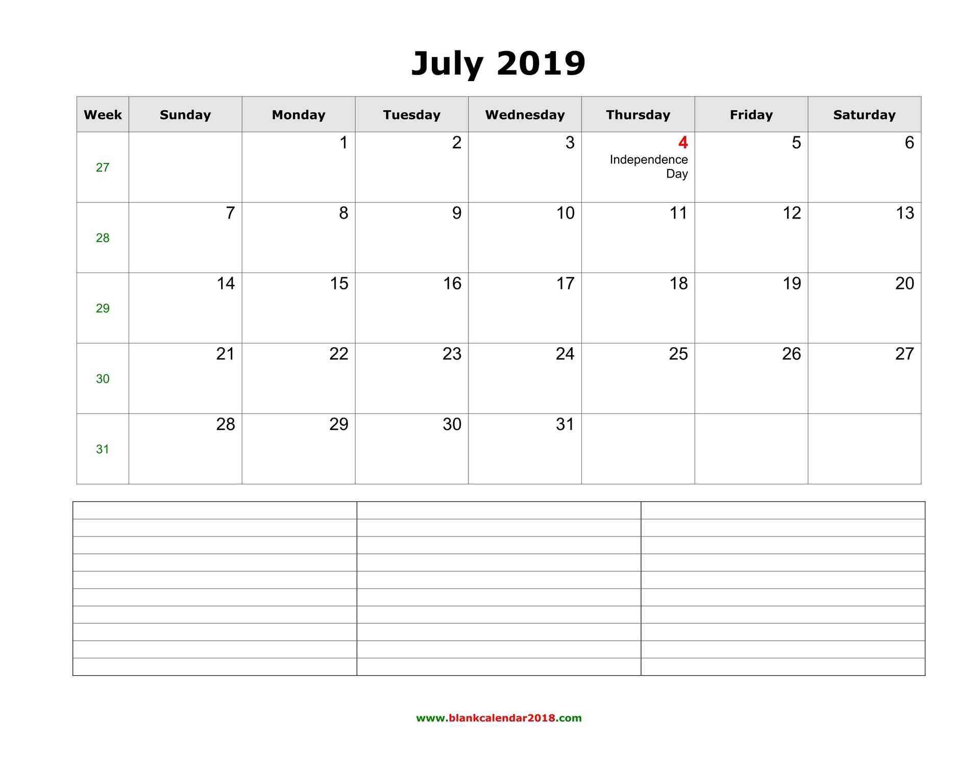 image regarding Printable Calendar for July identify Blank Calendar for July 2019