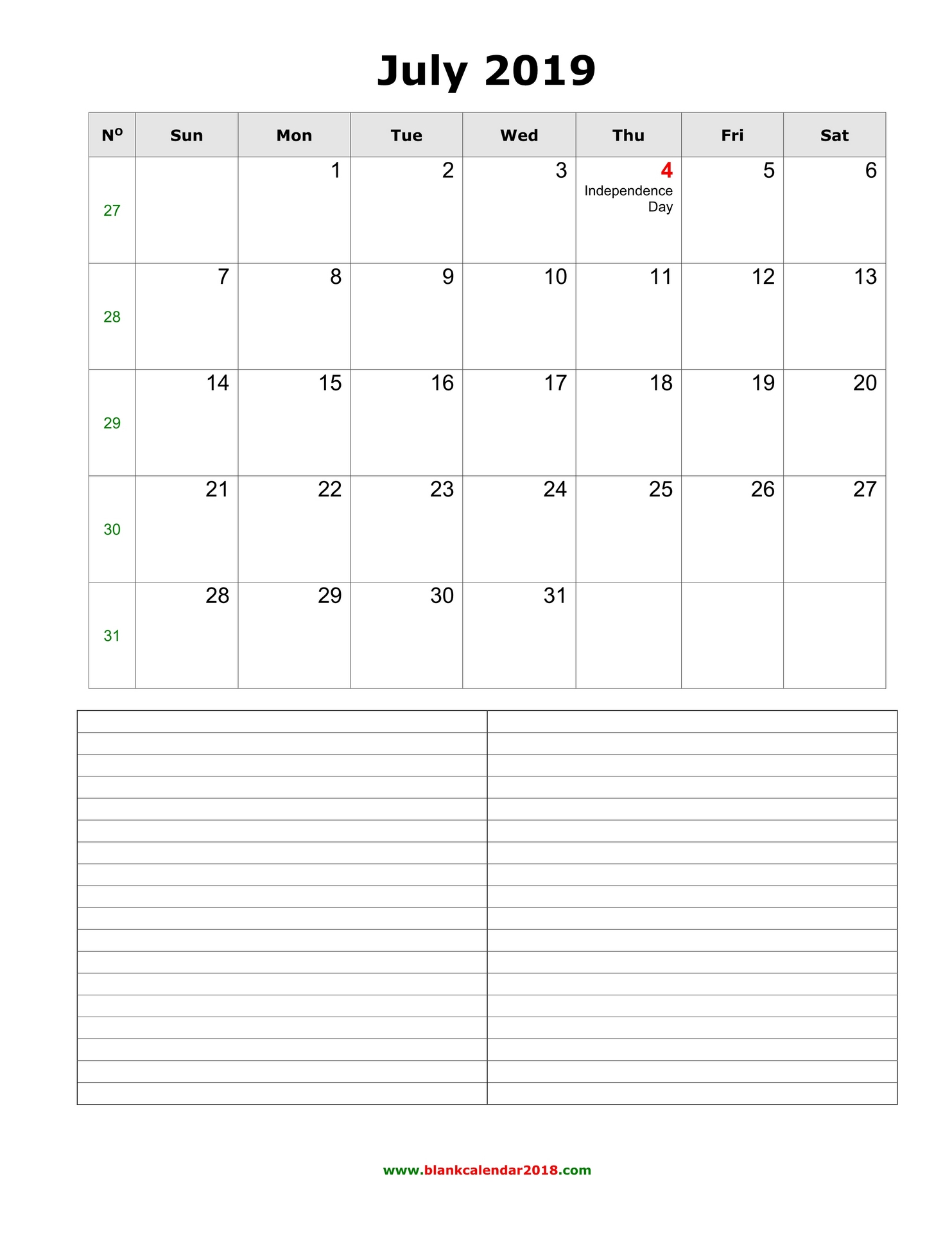 graphic regarding Calendar for July Printable identified as Blank Calendar for July 2019
