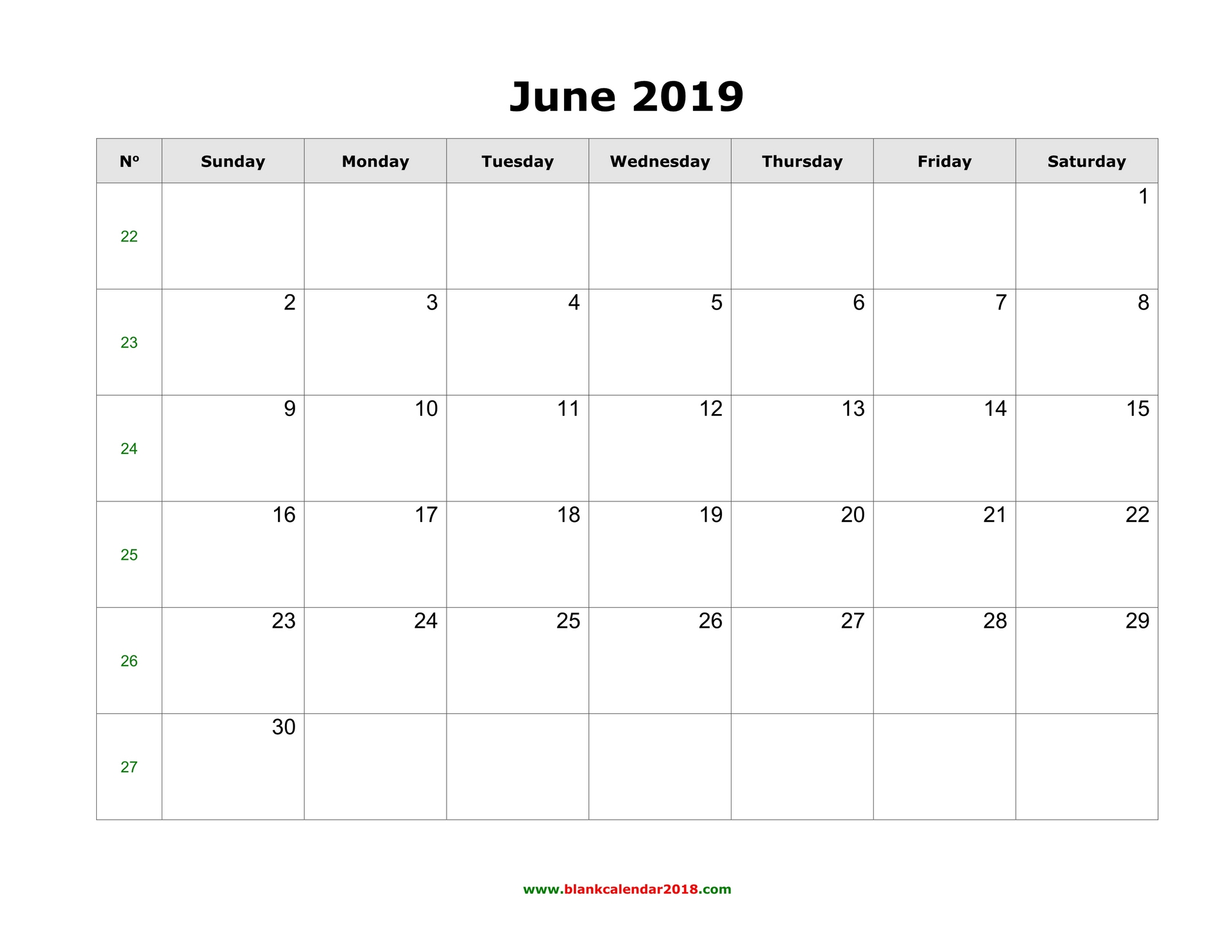 picture relating to June Printable Calendar called Blank Calendar for June 2019