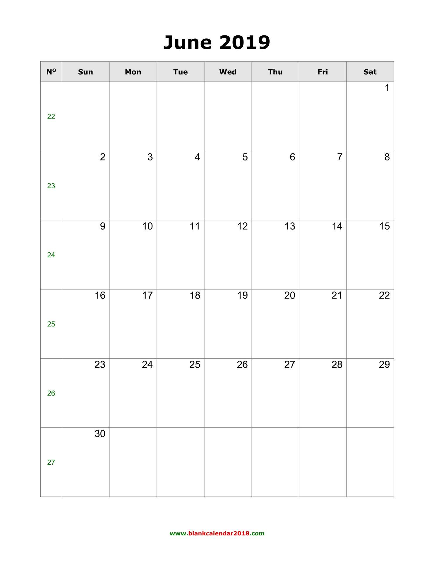 graphic about Free Printable June Calendar called Blank Calendar for June 2019