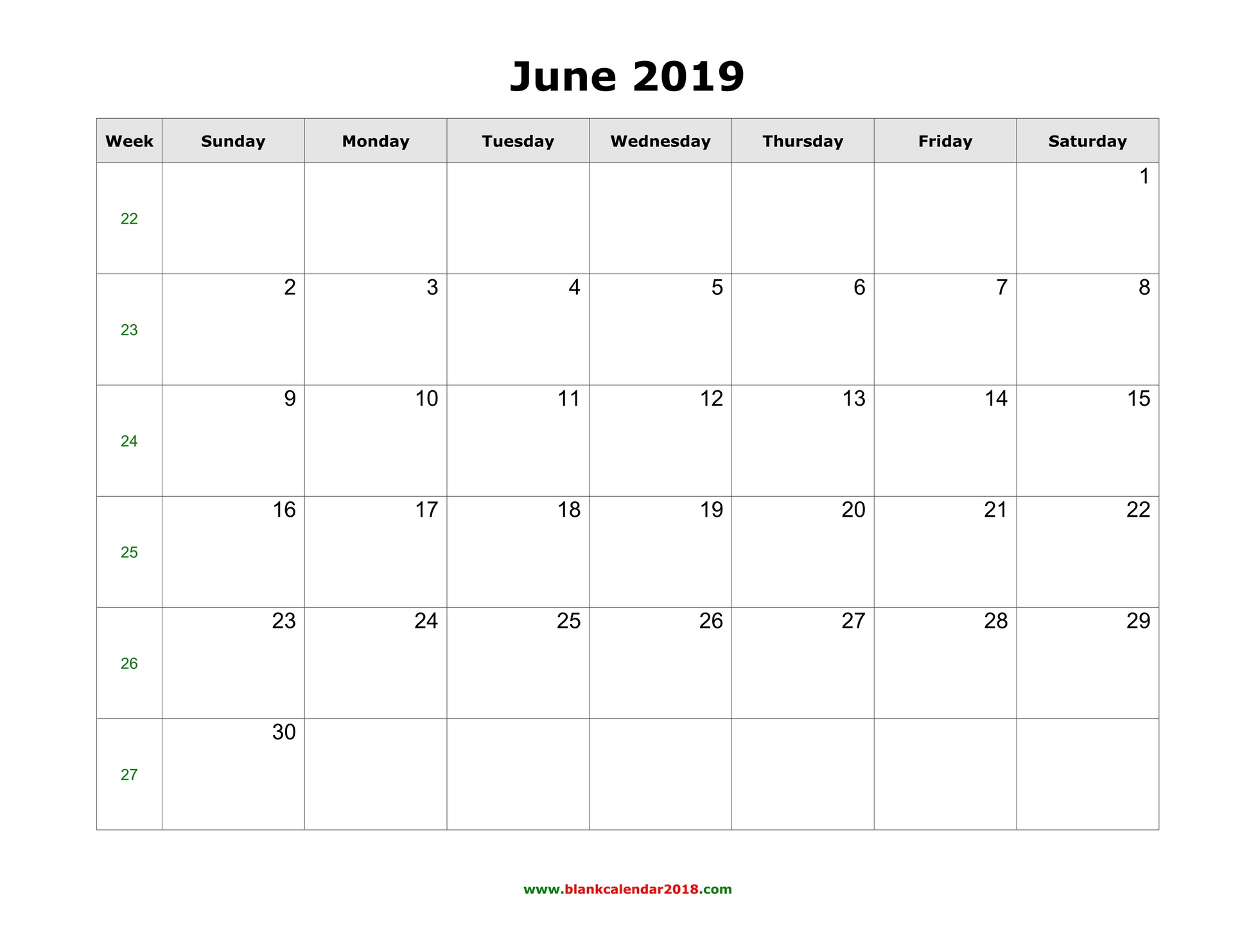 photo relating to Printable June identify Blank Calendar for June 2019