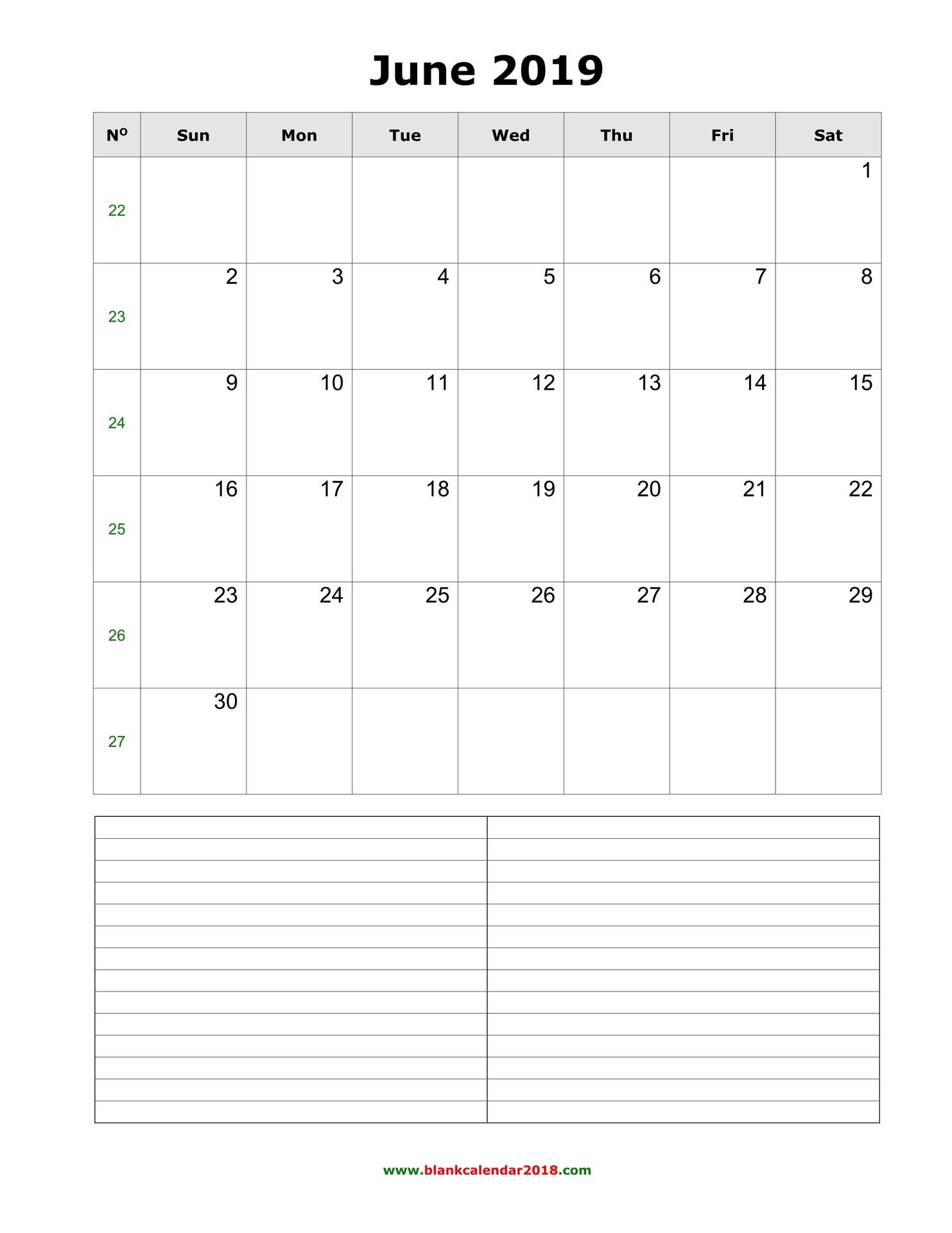 Blank Calendar For June 2019