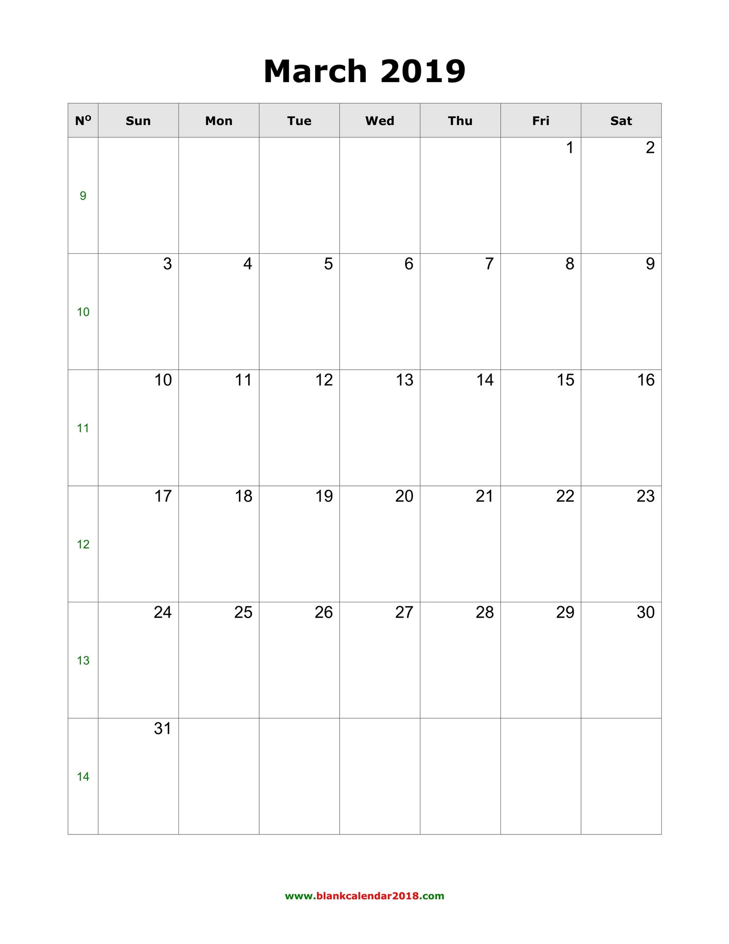 image relating to Free Printable March Calendar named Blank Calendar for March 2019