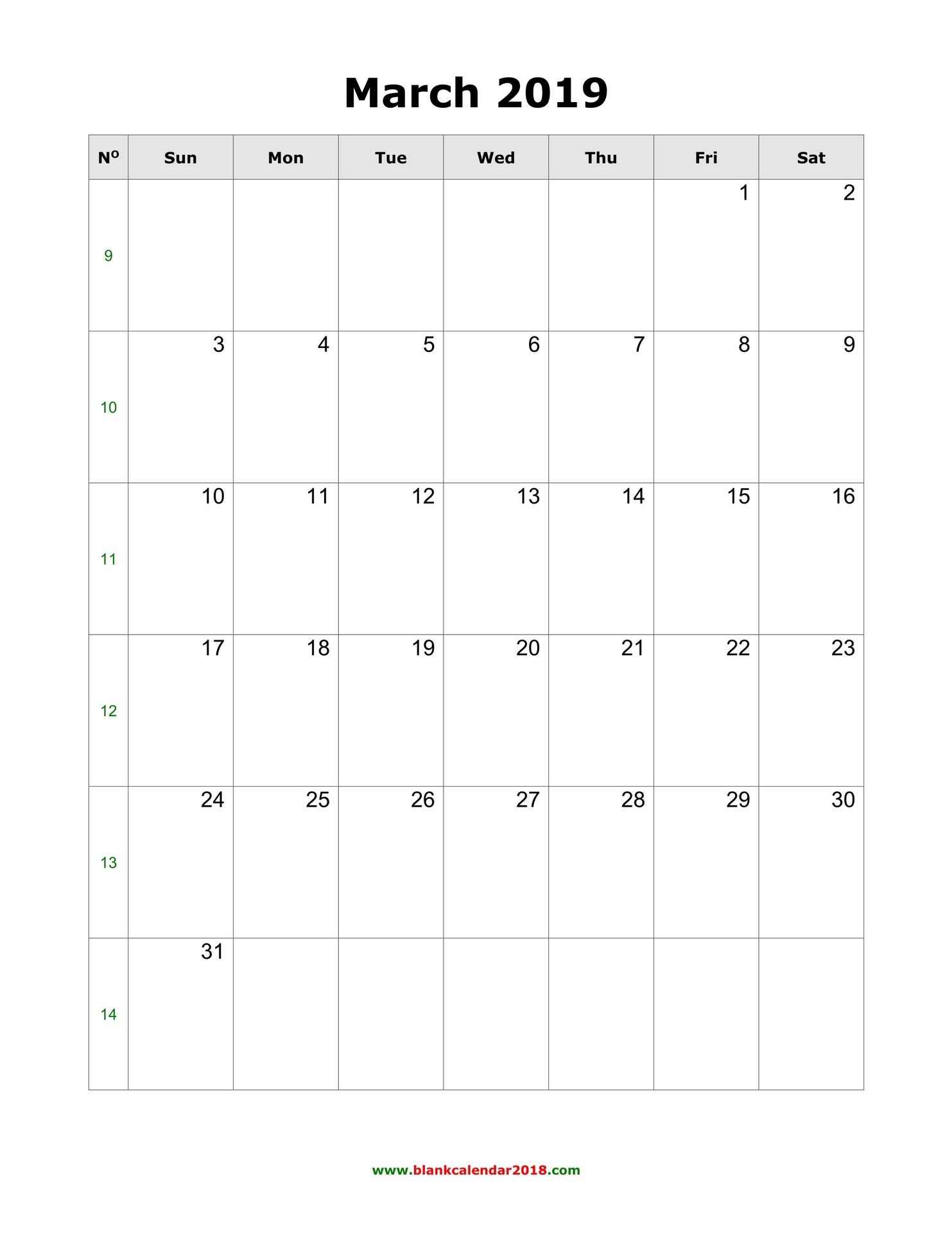 photo regarding Free Printable March Calendar named Blank Calendar for March 2019