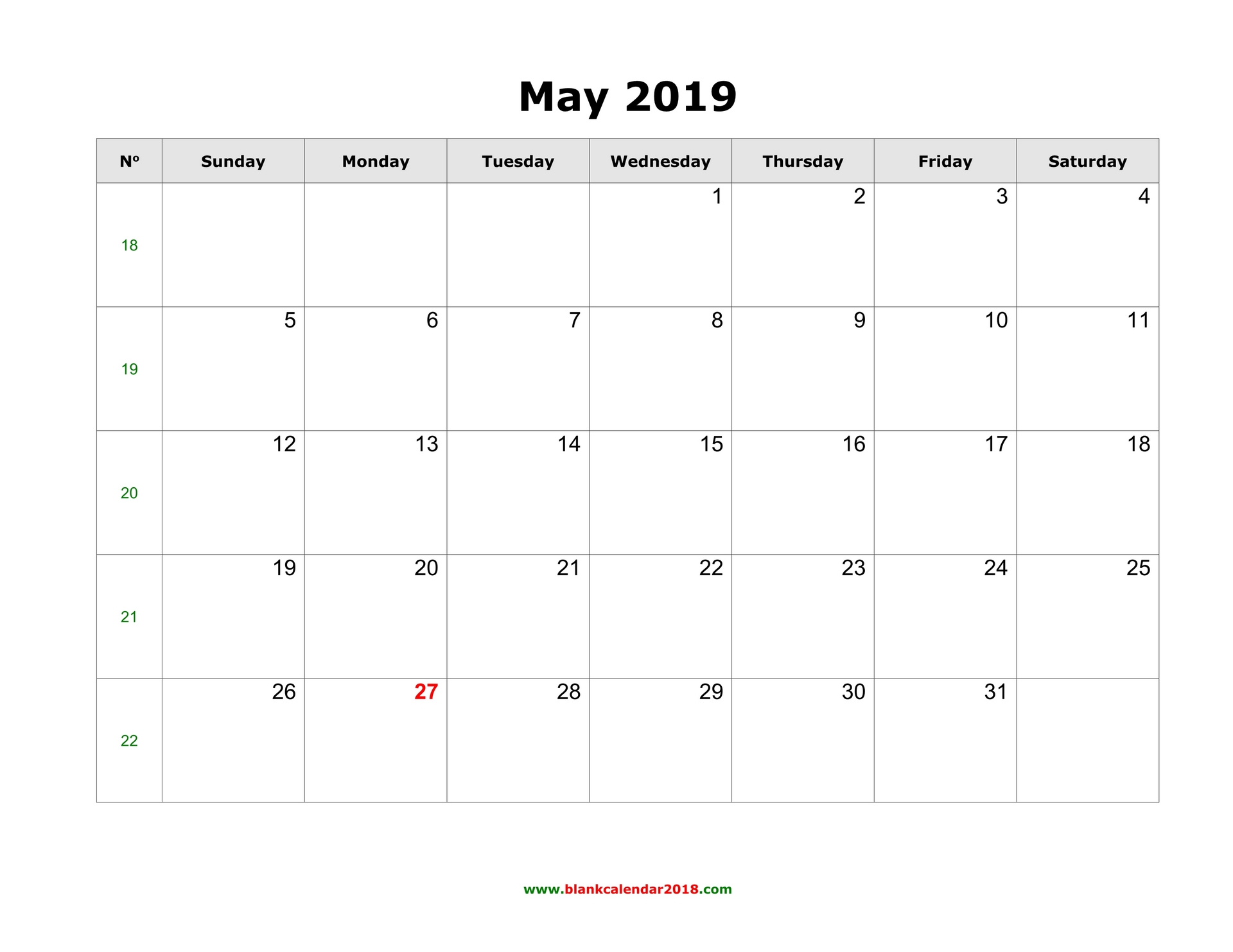 Calendar For 2019 May Blank Calendar for May 2019
