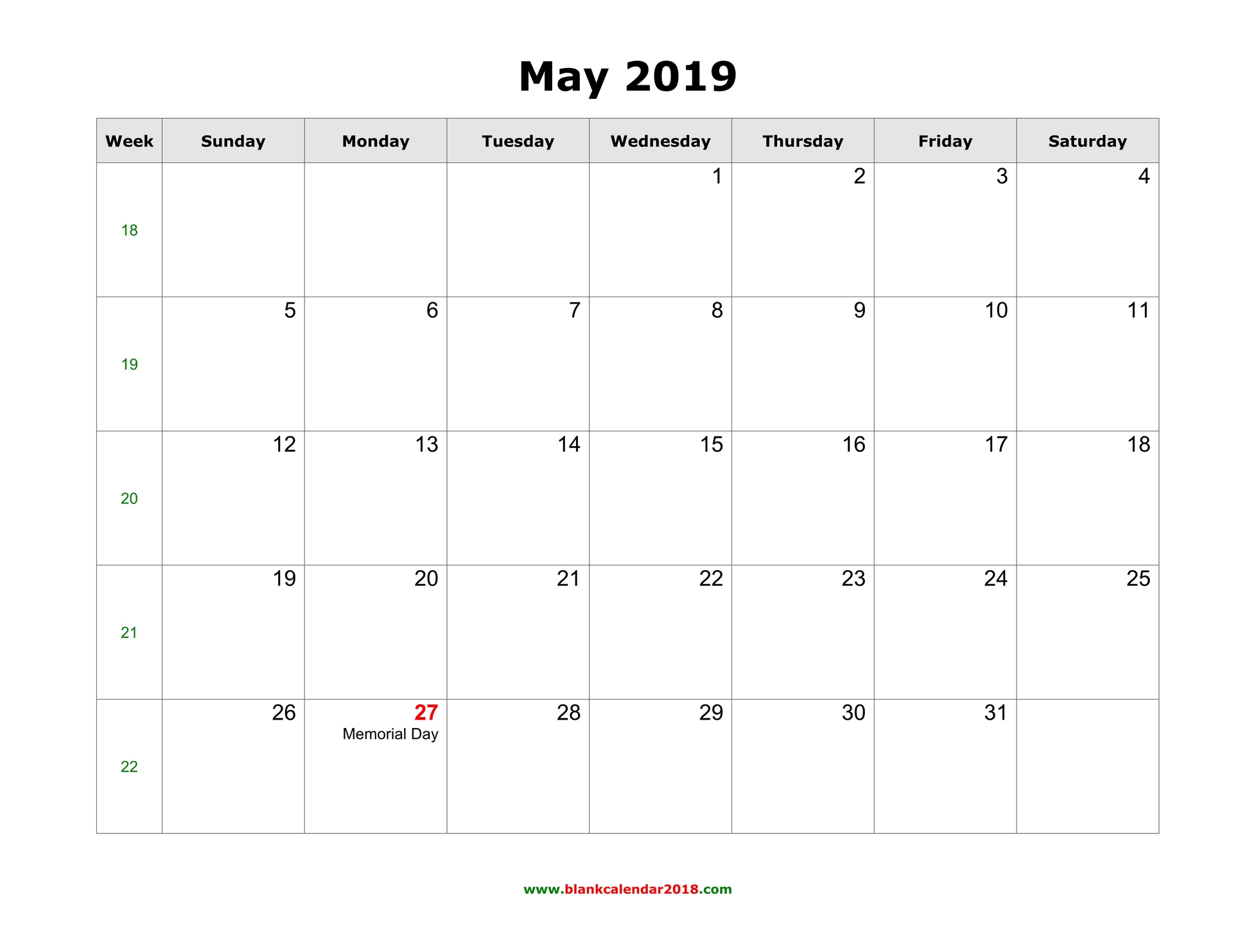 May Printable Calendar.Blank Calendar For May 2019