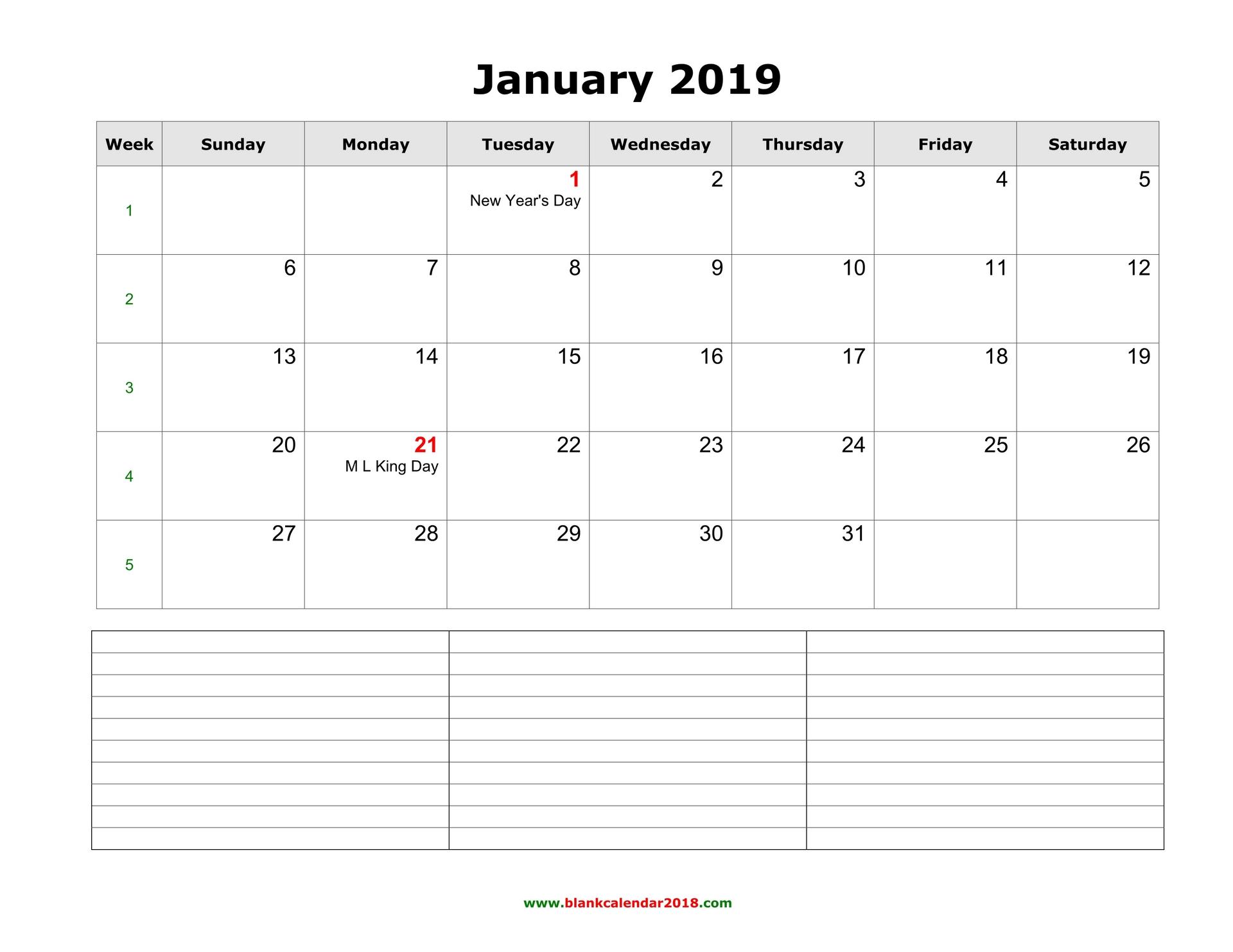 Calendario Word 2019.Blank Calendar 2019
