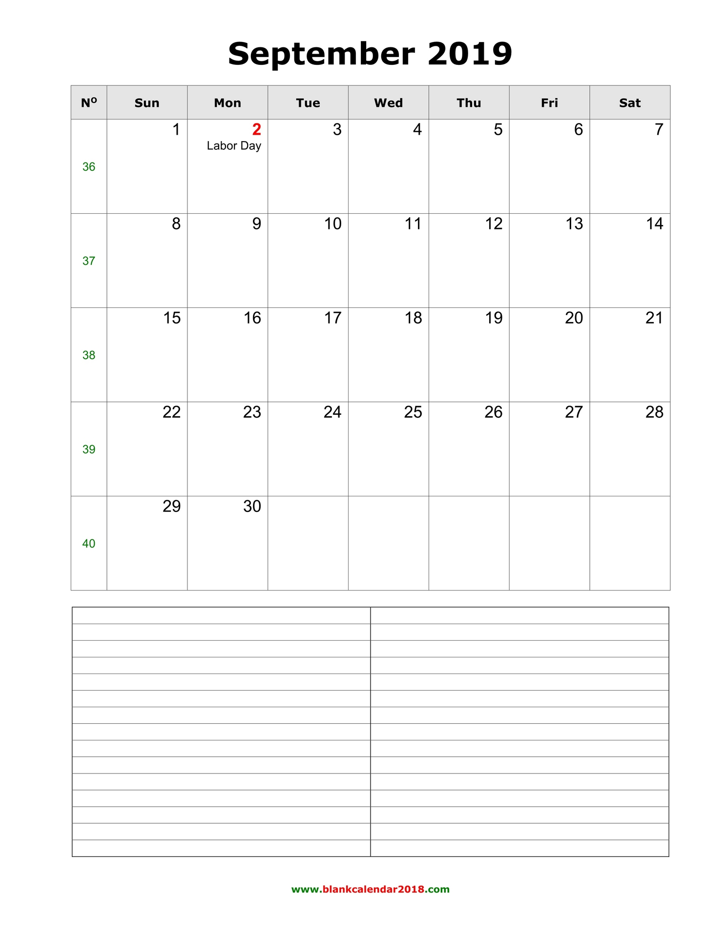 photograph regarding Printable September Calendar titled Blank Calendar for September 2019