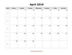 blank holidays calendar april 2019 landscape