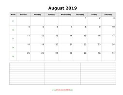 blank calendar august 2019 with notes landscape