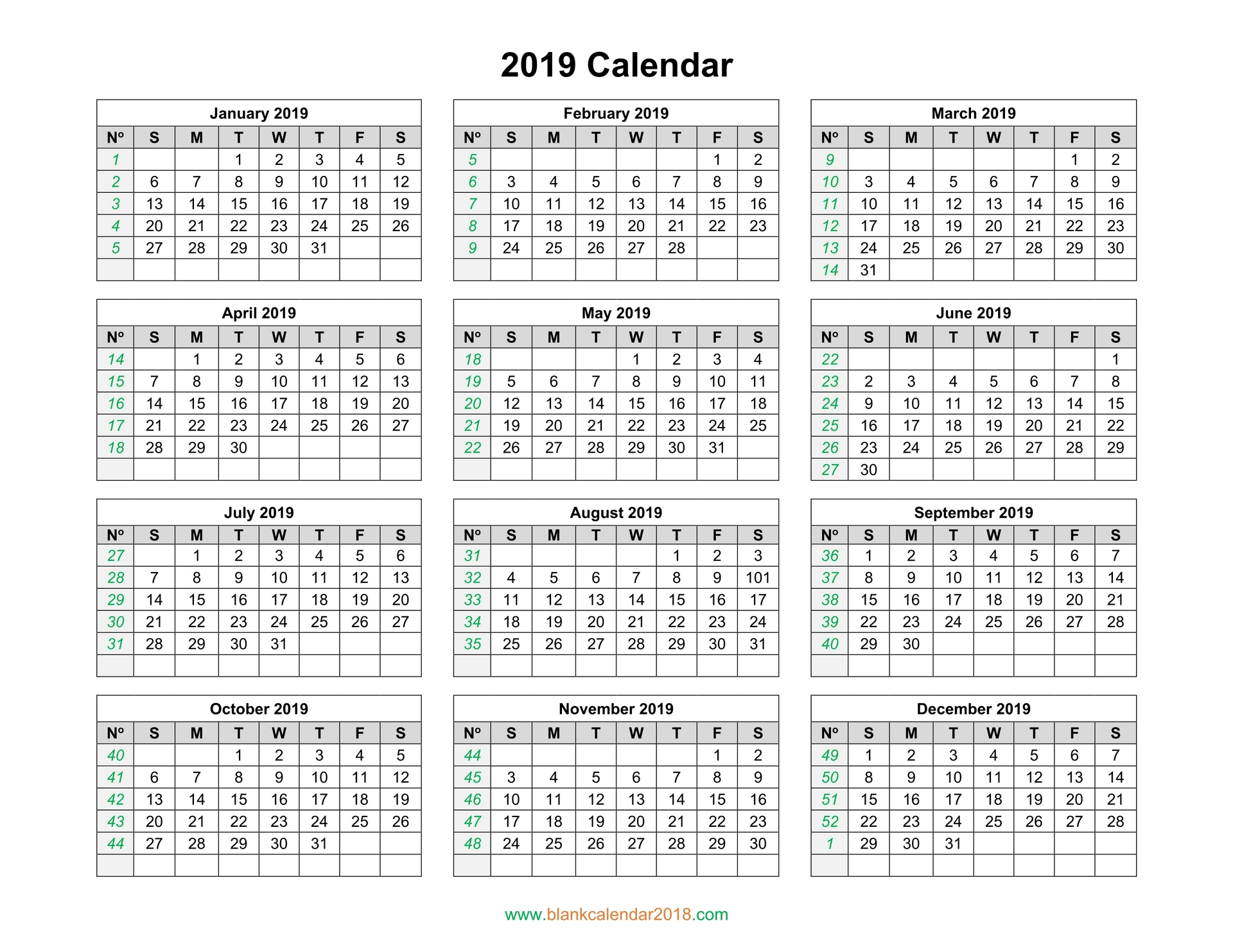 calendar 2019 free download pdf