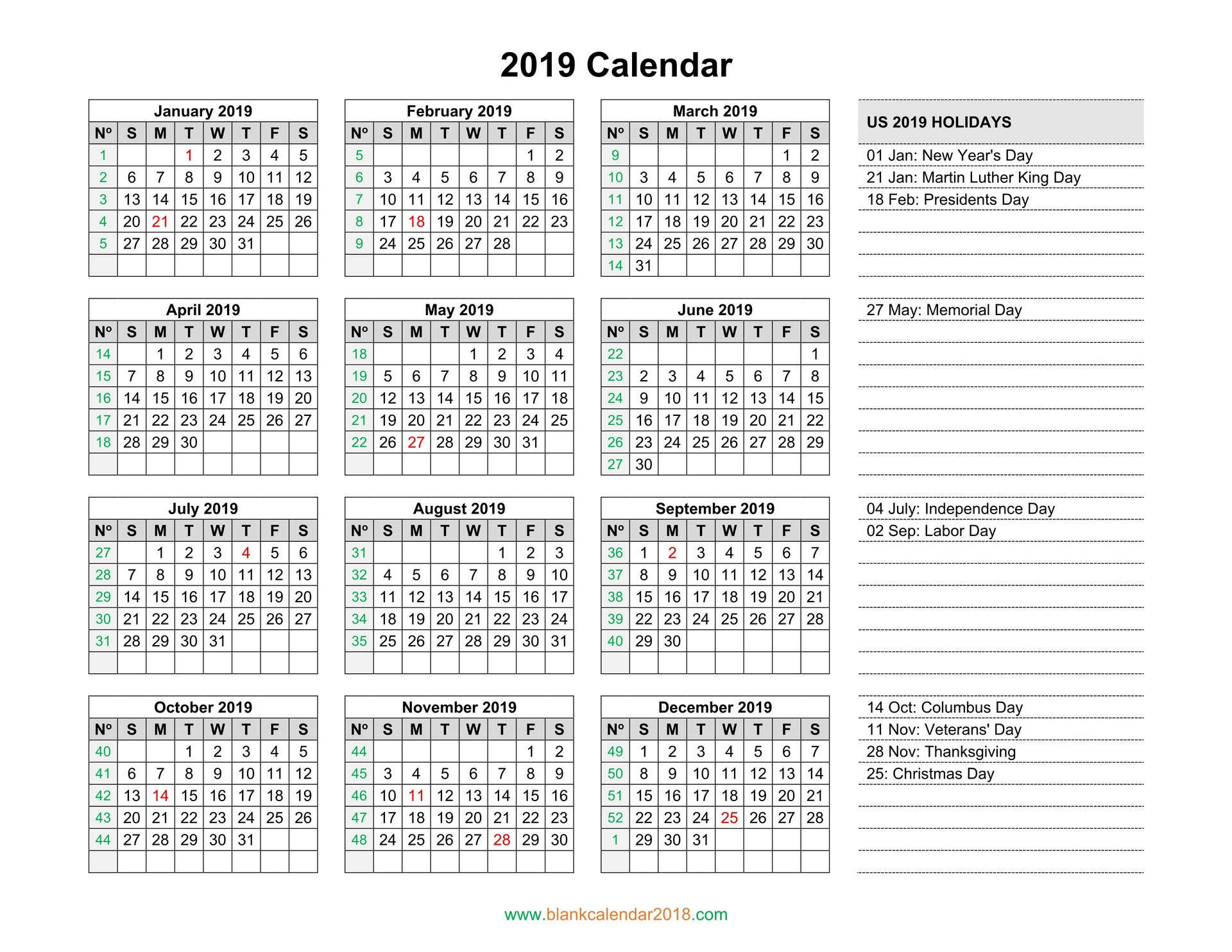 Day Of Year Calendar 2019 Blank Calendar 2019