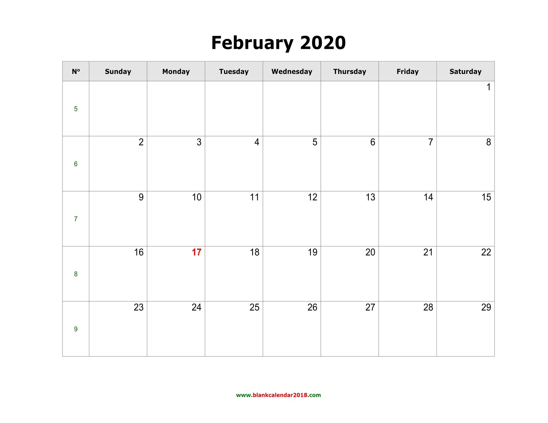February Printable Calendar 2020.Blank Calendar For February 2020