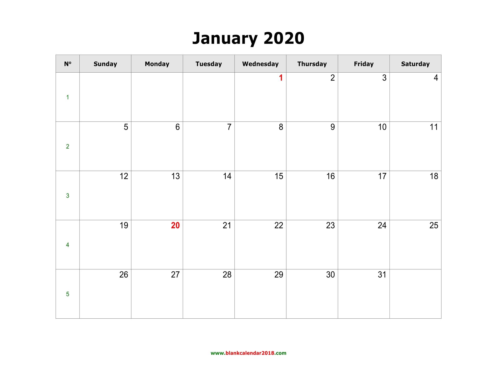 January Printable Calendar 2020.Blank Calendar For January 2020