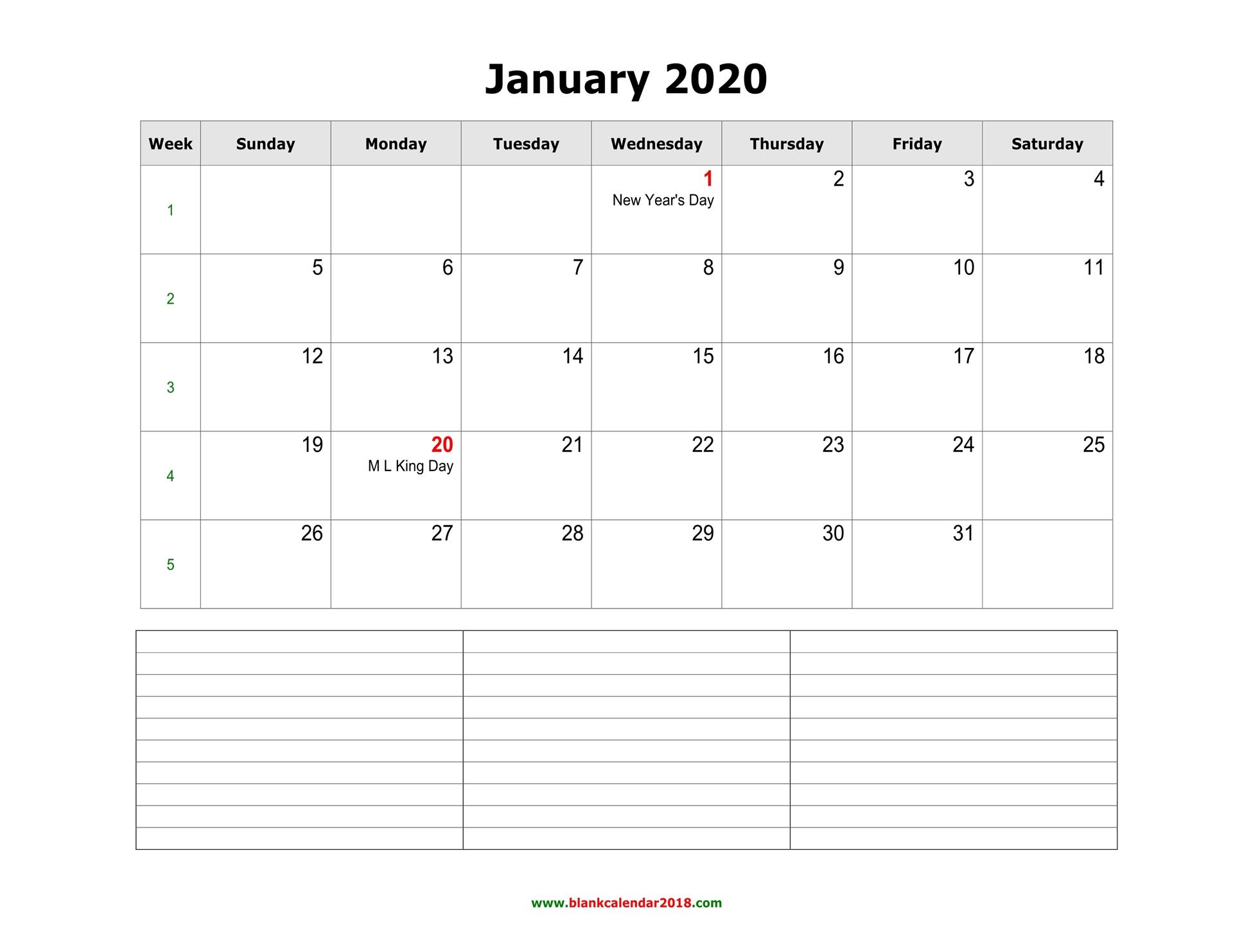 2020 Blank Calendar Template from www.blankcalendar2018.com