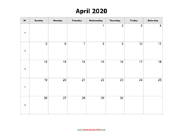 blank holidays calendar april 2020 landscape