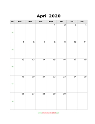 blank holidays calendar april 2020 portrait