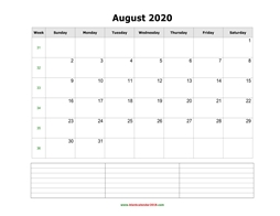 blank calendar august 2020 with notes landscape