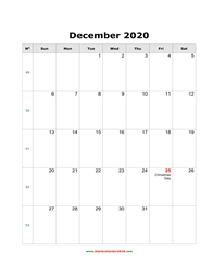 blank holidays calendar december 2020 portrait