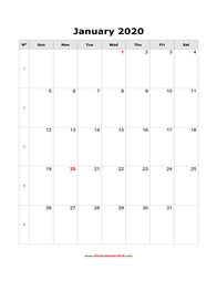 blank calendar january 2020 portrait