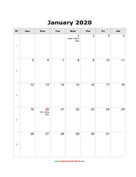 blank holidays calendar january 2020 portrait