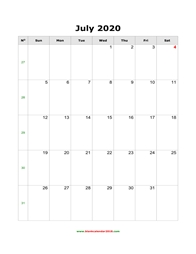 blank calendar july 2020 portrait