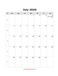 blank holidays calendar july 2020 portrait