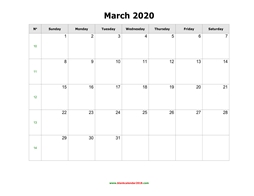 blank holidays calendar march 2020 landscape