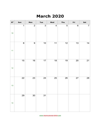 blank holidays calendar march 2020 portrait