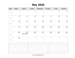 blank calendar may 2020 with notes landscape