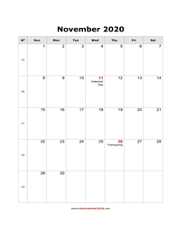 blank holidays calendar november 2020 portrait