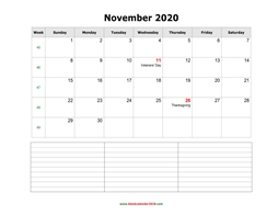 blank calendar november 2020 with notes landscape