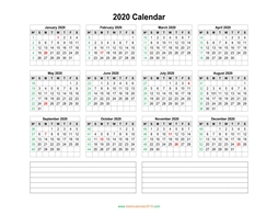 blank calendar 2020 with notes landscape