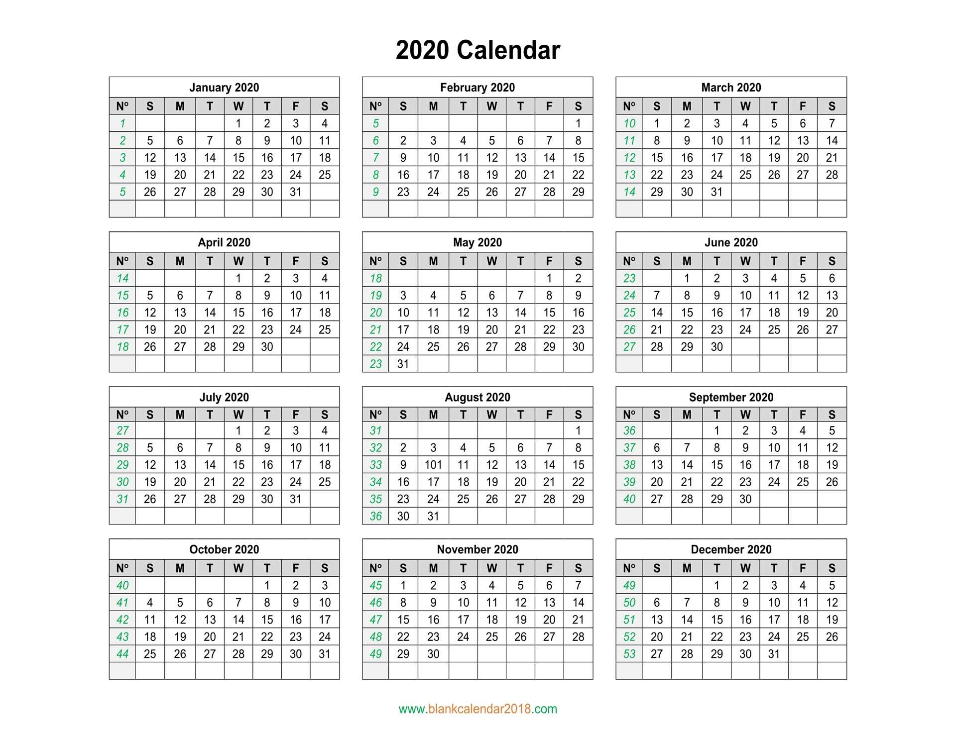 2020 Printable Yearly Calendar.Blank Calendar 2020