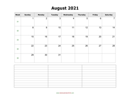 blank calendar august 2021 with notes landscape