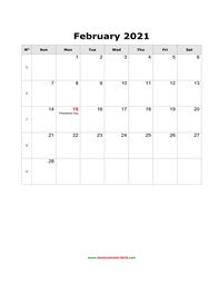 blank holidays calendar february 2021 portrait