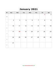 blank calendar january 2021 portrait