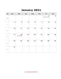 blank holidays calendar january 2021 portrait