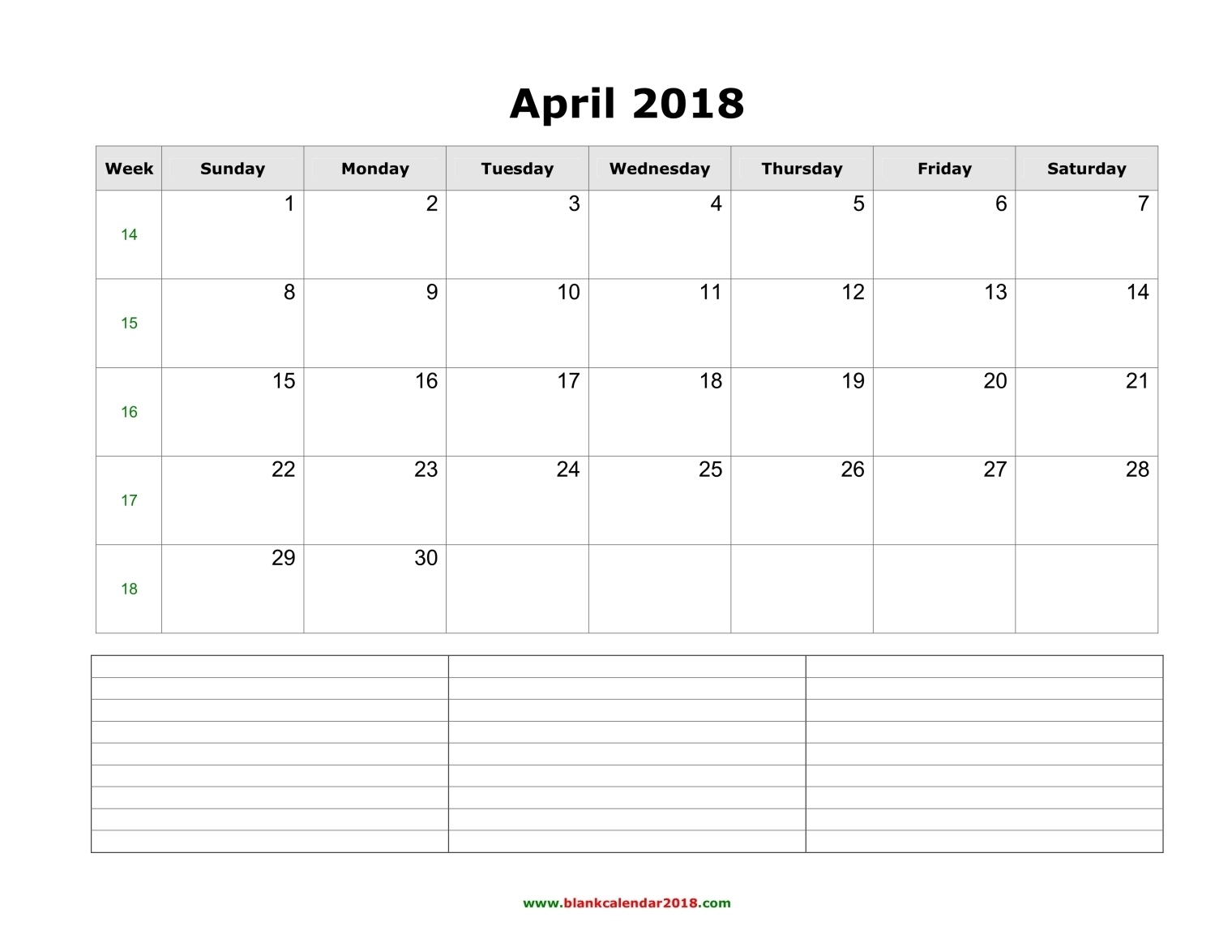 blank calendar april 2018 with notes landscape