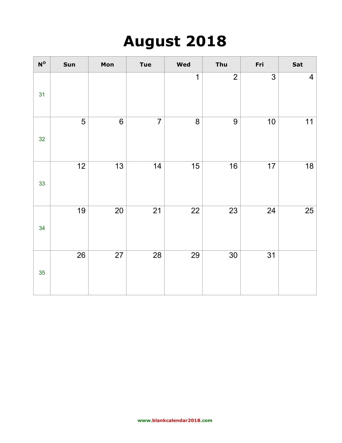 blank calendar august 2018 portrait