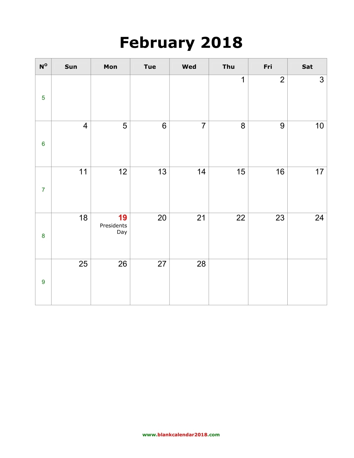 blank calendar template 2018
