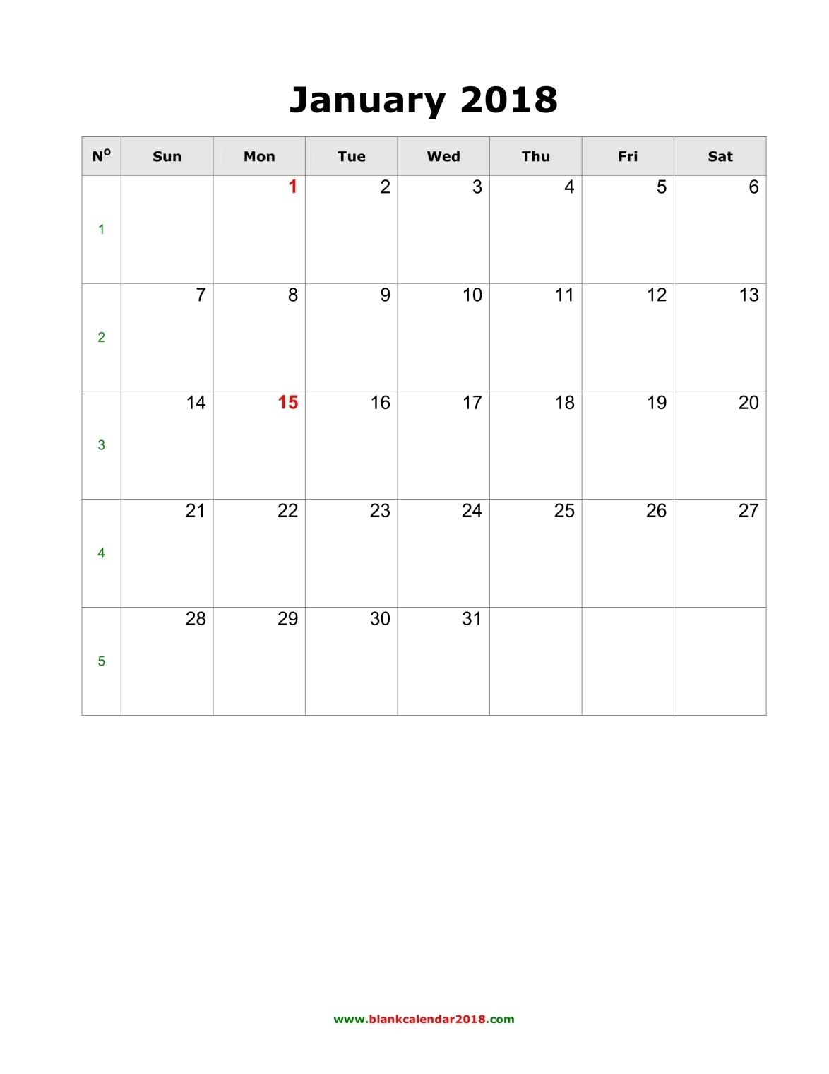 weekly calendar january 2018